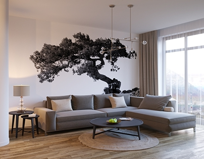 Living room interior design and visualization.