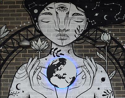Galaxy girl - illuminated mural
