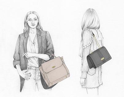 Fashion illustration Alexandra K vegan bags