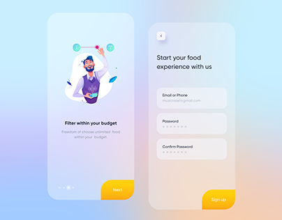 iOS app - Onboarding and sign up screen UI design