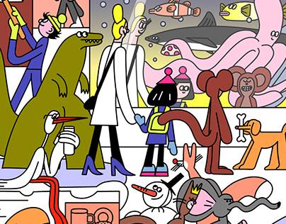 "illustration for comic-magazine ""POLLE"""