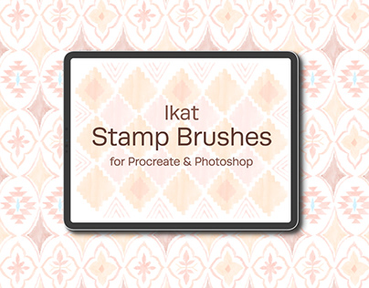 Ikat Watercolor Stamp Brushes for Procreate & Photoshop