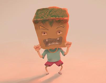ilustración de niño asustando