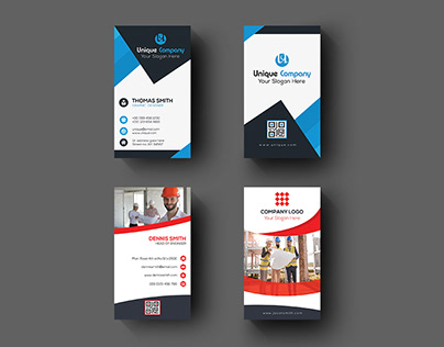 Corporate Vertical Business Card Design : 09