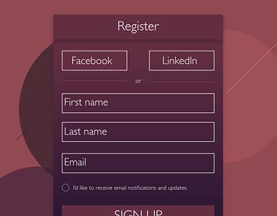 A sign up UI.