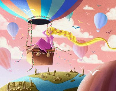 Rapunzel travel the world