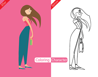 Coloring / redesigning hand drawn line art character!