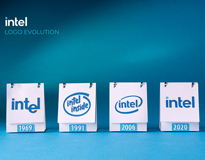 3d paper craft Intel logo evolution animation