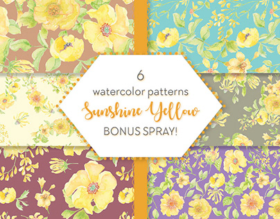Watercolor patterns designed with bright yellow flowers