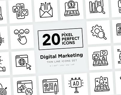 Digital Marketing Pixel Perfect Thin Line Icons Set