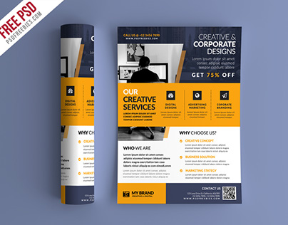 Free PSD : Business Promotional Flyer PSD Template