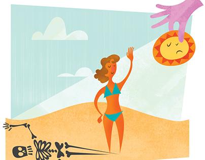 Dangers of Teen Tanning/ Editorial Illustration