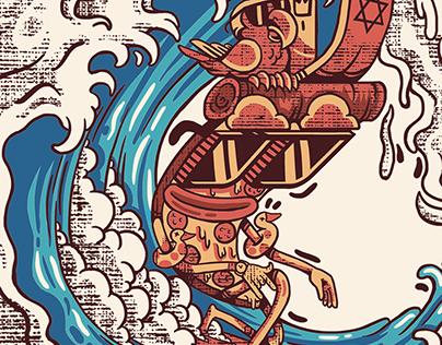 "T-SHIRT DESIGN ""PIZZA SURF"""