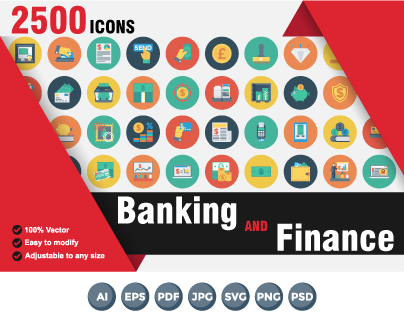 Banking and Finance Ten Style Icons, 2500 Icons Bundle
