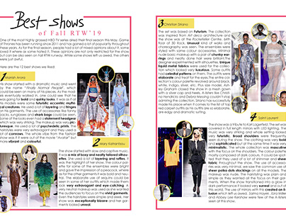 Fashion review on Best Shows of Fall RTW'2019