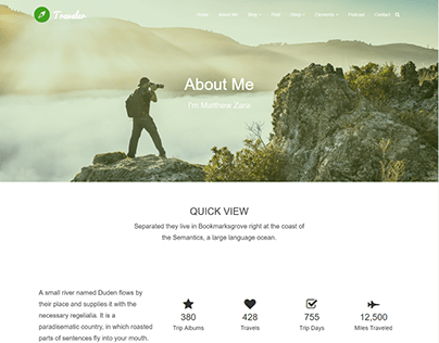 About me - Traveler WordPress Theme by Visualmodo