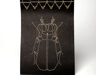 Artist's Book: Stab Stitched Insects