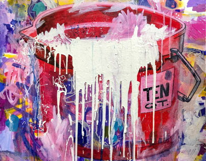 """Ten Quarts"" - Bucket Series Painting and merchandising"