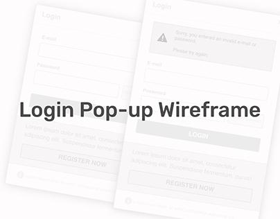 Login Pop-up Wireframe