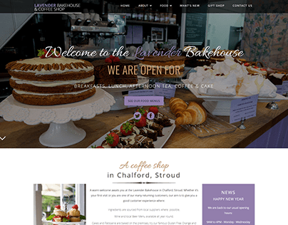 Websit Design for boutique cafe restaurant, Stroud