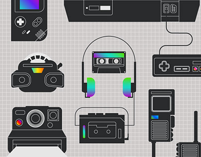 Ah Yes, the 80s! A collection of nostalgic icons.