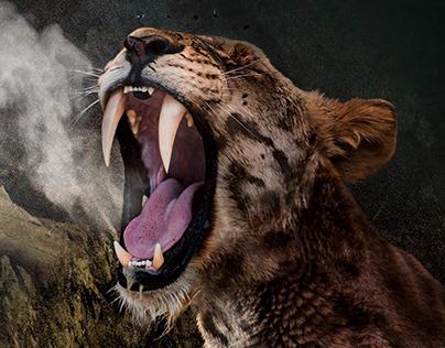 Photomontage: La Colina de los Tigres Dientes de Sable.