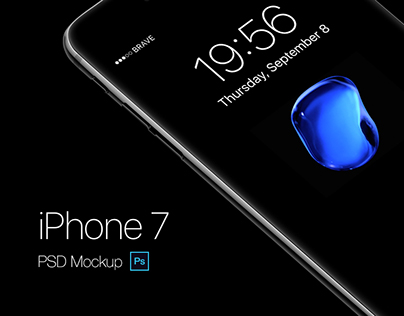 iPhone 7 Jetblack PSD Mockup