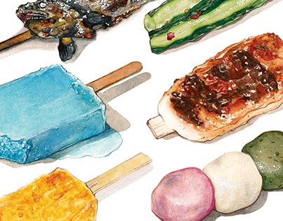 Japanese Foods on Sticks