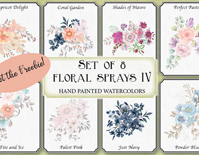 Set of 8 watercolor sprays IV