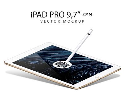 Apple iPad Pro 9.7 inch and Pencil Vector Mockup