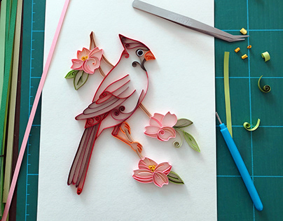Northern Cardinal - Paper quilling