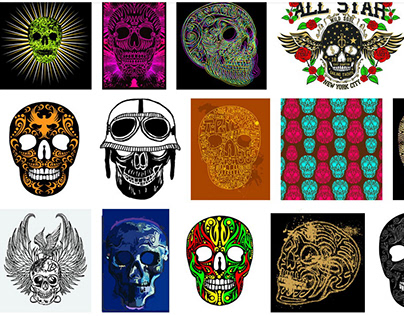 Skull print and embroidery vector art