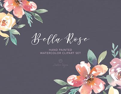 Bella Rose Watercolor Floral Clipart Set