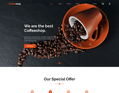 Coffee shop web store concept
