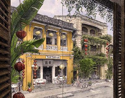 Tam Tam café Travel Sketch