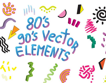 90's 80's Geometric Vector shapes. Instant Download