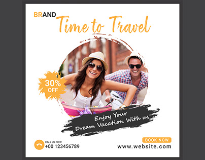 Travel holiday social media post banner template
