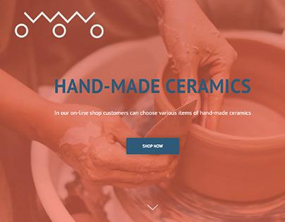 Hand-made ceramics on-line shop landing page