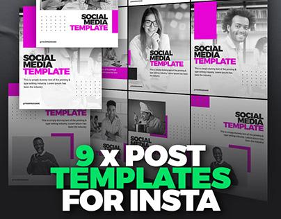 Instagram Posts - 9 Photoshop Templates - Editable