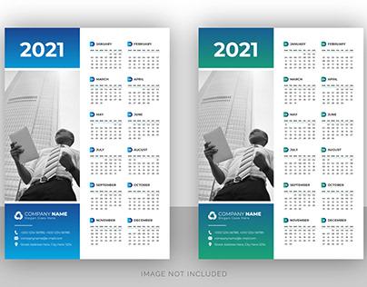 Creative portrait wall calendar design template 2021