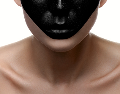 Beauty Girl with black Face on white Skin