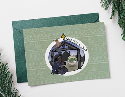 Mandalorian and The Child Christmas Card