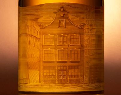 Inside label illustration oldest bar in Amsterdam