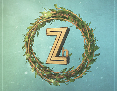 Zh - natural logo, wooden style