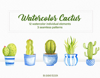 Cactus watercolor set , indigo Cacti and Succulents set