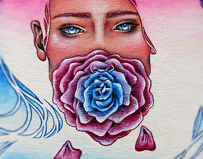 Florescence - Female Portrait on Wood