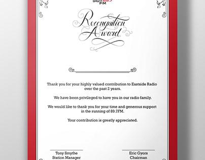 Recognition Award Certificate (Eastside Radio Sydney)