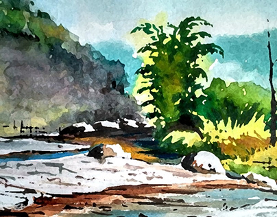 Watercolor Landscape of Canada
