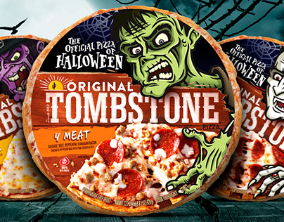 Tombstone Pizza Halloween Packaging Illustrations