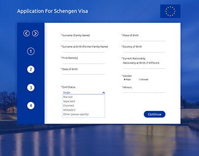 Schengen Visa Application Form Design Concept